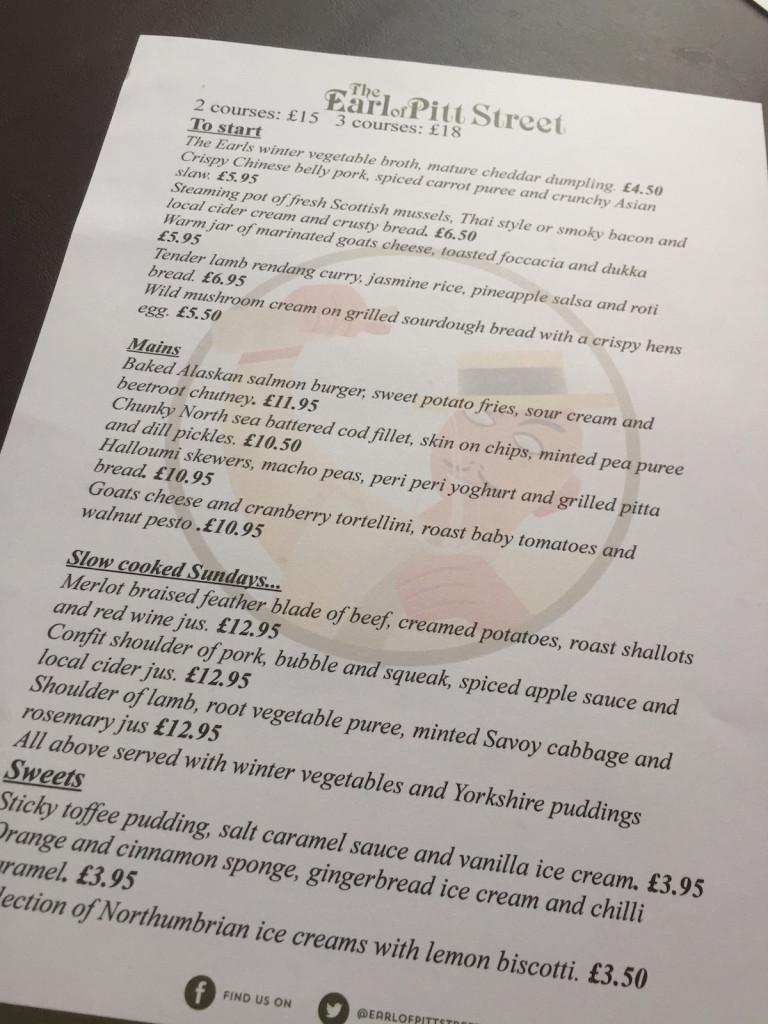 earl of pitt street menu