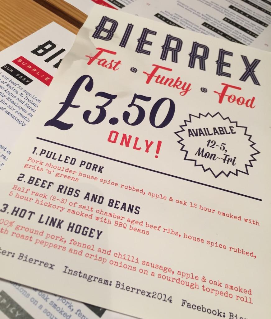 bierrex 3.50 lunch menu