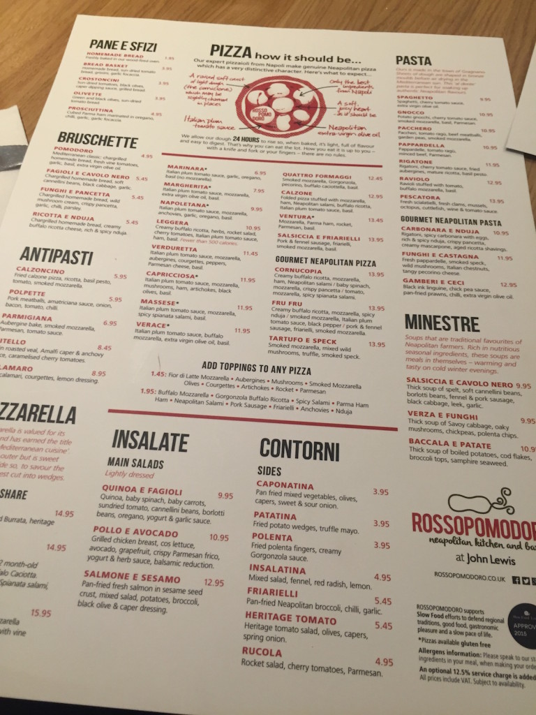 rossopomodoro newcastle menu