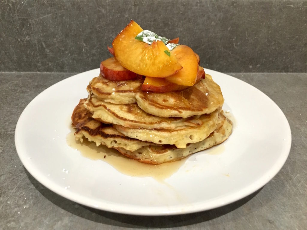american pancakes and peaches
