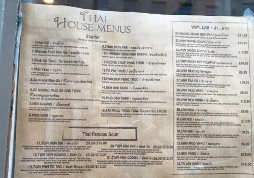 Thai House Newcastle Menu Page1